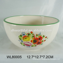 Factory direct sale 2016 ceramic bowl with popular flower decal