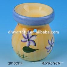 Amarillo casa decoración quemador de aceite de cerámica con diseño de flores