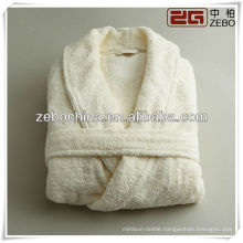 Fashion luxury white shawl collar hotel terry cotton bathrobe