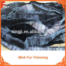 Garniture de fourrure de vison, couleur noire, fourrure véritable
