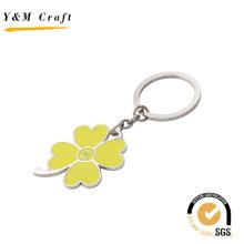 Porte-clés en métal en forme de trèfle à quatre feuilles avec couleur jaune (Y02628)
