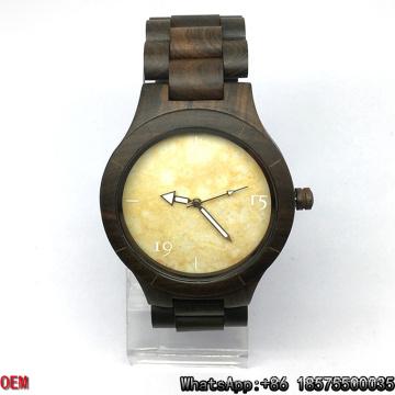 Montre en bois / ébène de qualité supérieure, montre à quartz, montre en marbre Hl04