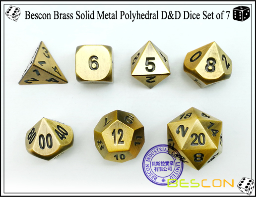 Bescon Brass Solid Metal Polyhedral D&D Dice Set of 7-3