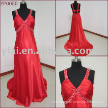 PP0050 Beautiful V Neck Red Long Evening Dress