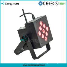 China 9 * 10W bateria operado recarregável LED Flat PAR luz