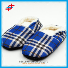 Check Patterned Winter Slipper Baumwollfleece Futter Mann Slipper