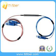 1 * 2 mini tipo tubo de aço FBT Fibra Óptica Splitter / copuler com conector SC