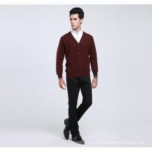 Suéter / prendas de vestir / prendas de punto de la manga larga de la rebeca del cuello en V de la lana / de la cachemira de Yak