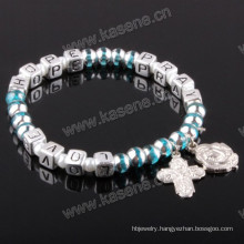 Letter Beads Religious Bracelet on Elastic with Medal