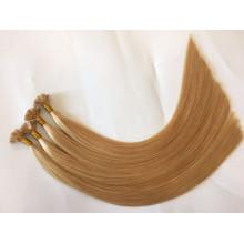 Doble dibujado 10-28 pulgadas italiana keratin pegamento 100% Remy pelo indio punta plana extensiones de cabello para la venta
