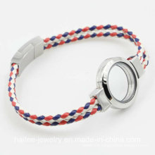 Fashion Leather Bracelet Jewelry with Floating Locket for Gift