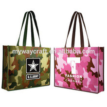 fashion camouflage pattern pp non-woven handle bag