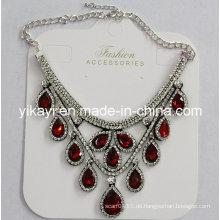 Lady Fashion Waterdrop Glas Kristall Anhänger Halskette Modeschmuck (JE0214)