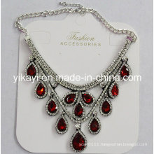 Lady Fashion Waterdrop Glass Crystal Pendant Necklace Costume Jewelry (JE0214)