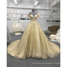 Vestido de novia árabe vestido de novia de oro dorado hombro WT508