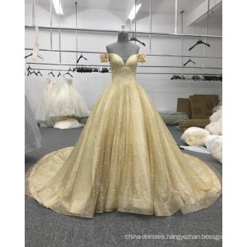 Arabic wedding dress sweetheart gold off shoulder bridal gown WT508