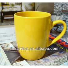 Glazed yellow solid plain ceramic coffee mugs
