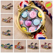 Hot handmade tecido tecido mulheres Genebra quartzo relógio de pulso relógio vogue
