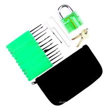 Cadeado Praticar Transparente Verde com Saco de Lona 15 PCS Lockpicking Ferramentas Caixa De Silicone Verde (Combo 6-4)