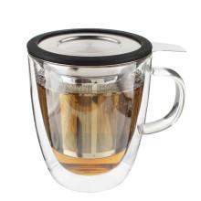 Nuevos productos calientes para la taza / la taza creativas del doble del té del vidrio de borosilicate del café con la taza Steeping de la tapa