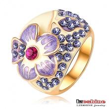 Anneau à doigts en fleurs fleur émaillée 3 couleurs Bague (Ri-HQ0015)