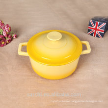 non stick enamel cookware set soup tureen-glossy yellow