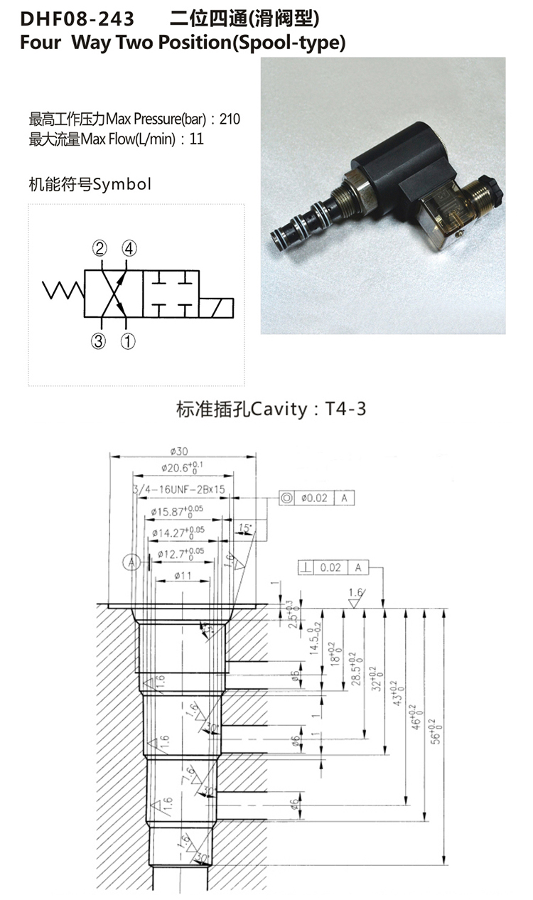 Hydraulic 4 Way 2 Position Solenoid Cartridge Valve