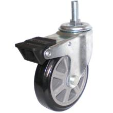 Eg01 Threaded Stem PU Caster with Dual Brake (Black)