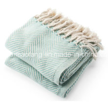 Herringbone Weave 100% Cotton Blanket Throw
