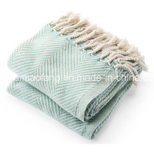 Herringbone Weave 100%Cotton Blanket Throw