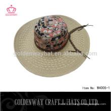 Chapeau de paille à larges bords de soleil pour femmes