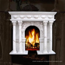 Luxury home decoration roman style marble fireplace with roman column