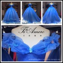 2017 Vestido de noiva azul nupcial para festa Vestido de noiva de organza de luxo fora de ombro Tiamero 1A150