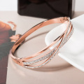 Womens Dainty Rose Gold Pave Diamond Bracelet