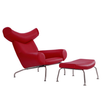 Hans Wegner Red Leather OX Lounge Chair طبق الاصل