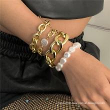 European and American Fashion Jewellery Hip-Hop Punk Cuban Metal Thick Chain Rice Grain Pearl Bracelet Set Bracelet for Women
