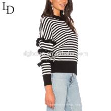 Camisola de malha de duas cores camisola pullover personalizado malha mulher listrada para o inverno