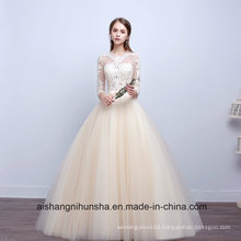 Elelgant O-Neck Classic Ball Gown Floor-Length Embroidery Wedding Dress