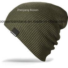 China-Fabrik Soem produzieren schwarzen Acryl gestrickten warmen Slouchy Ski-Hut