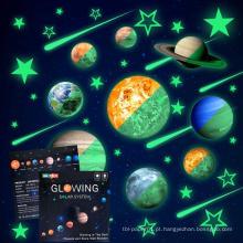Crianças lua removível estrelas planeta brilho no escuro adesivo noite quarto luminoso decalque da parede