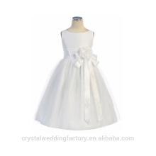 Enfants Mariage 2-12 ans à la mode Tulle blanche et longue robe de bal Robe de mariée Robe de soirée à motif Kids Party Wear LF04