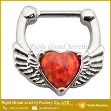 Stainless Surgical Synthetic Red Opal Heart wings Nose Ring Jewelry Piercing
