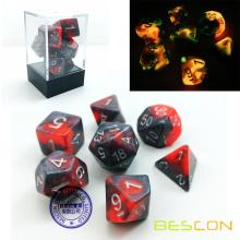 Bescon Gemini Ensemble de dés Polyédricine Icy Track, Two-tone RPG Dice Set de 7 d4 d6 d8 d10 d12 d20 d% Brick Box Pack