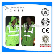 Hola vis impermeable, impermeable reflectante, impermeable de seguridad