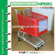 heavy duty plastic shopping cart with aluminium alloy advertising board