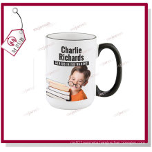 15oz White Mugs for Sublimation Printing with Color of Rim and Handle
