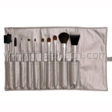 Natural Hair 10PCS Makeup Brush with Silver Pouch