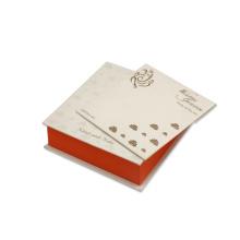 Caixa de cartão de casamento com design de lótus laranja & dourado branco