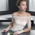 Белый цвет средний рукав длинный дизайн тонкий-линии кружевной моды Большая грудь свадебное платье