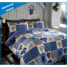 Navidad patchwork estilo poliéster edredón cubierta juego de cama